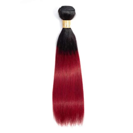 Human Pre-Colored 1b And Burgundy Ombre Peruvian Straight Hair 1 Or 3 Bundles (2)