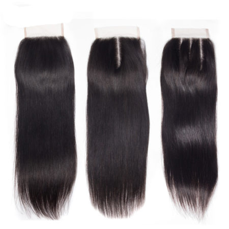 Human Remy 4x4 inch Swiss Lace Straight Hair Closure Free Middle Three Part (1)