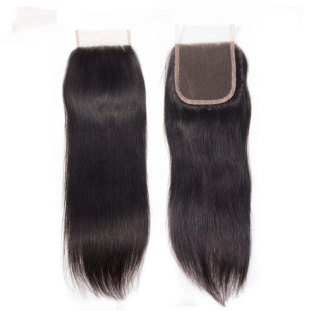 Human Remy 4x4 inch Swiss Lace Straight Hair Closure Free Middle Three Part