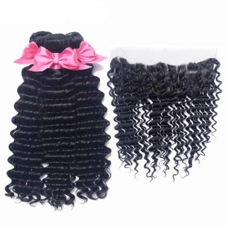 Indian Deep Wave 3 Bundles Natural Color Hair With Lace Frontal Closure With Baby Hair Double Weft (5)