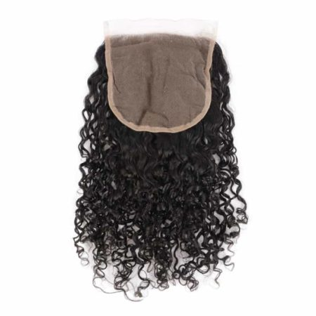 Indian Human 5x5 Curly Lace Closure Hair Bleached Knots With Baby Hair (1)