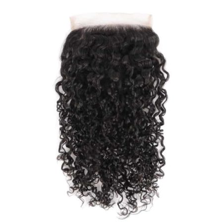Indian Human 5x5 Curly Lace Closure Hair Bleached Knots With Baby Hair (5)