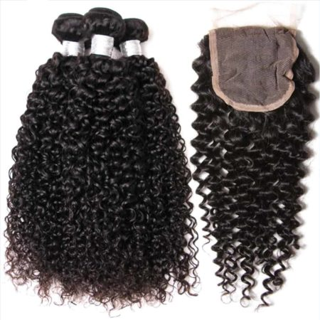 Indian Human Kinky Curly Hair 3 Bundles With Weave Closure Piece (6)