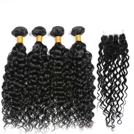 Indian Human Wet And Wavy Weave Hair 4 Bundles With Closure (1)