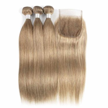Indian Straight Hair 3 Bundles with Lace Closure Color #8 Blonde (4)
