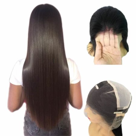 Indian Straight Transparent Glueless Full Lace Wigs Pre Plucked Natural Hairline With Baby Hair (2)