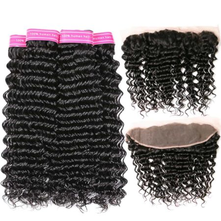 Malaysian Deep Wave 100% Human Hair Weave 3 or 4 Bundles With With Frontal (5)
