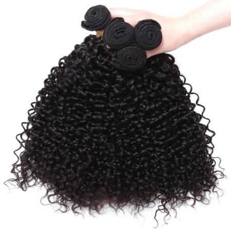 Malaysian Kinky Curly Hair 3 Bundles With Free Part 4X4 Lace Closure Natural Color (4)