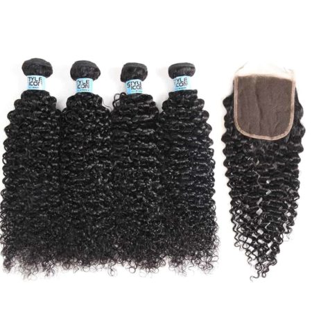 Malaysian Kinky Curly Human Hair Weave 3 Bundles With Closure (3)