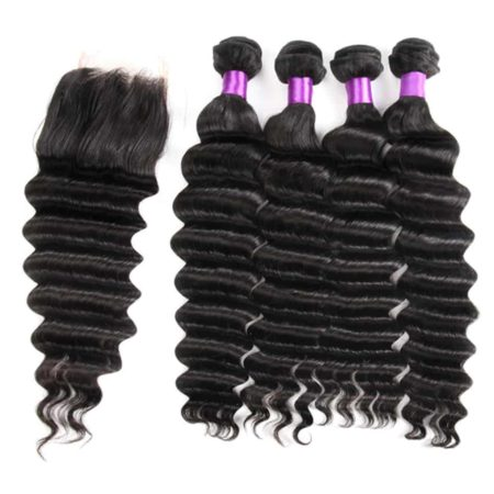 Malaysian Remy Hair Weave Bundles With Closure Loose Deep Wave Human Hair (4)