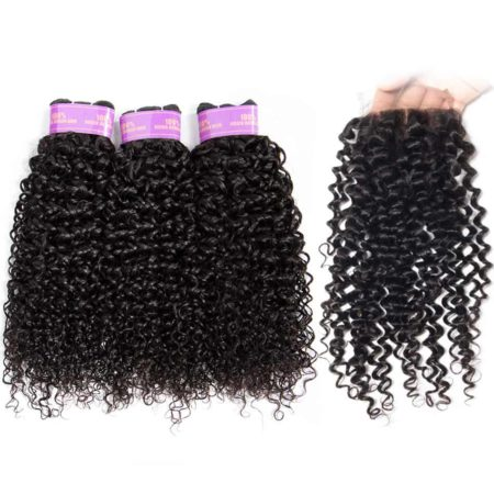 Malaysian Remy Human Curly Hair Weave 3 Bundles With Lace Closure (1)