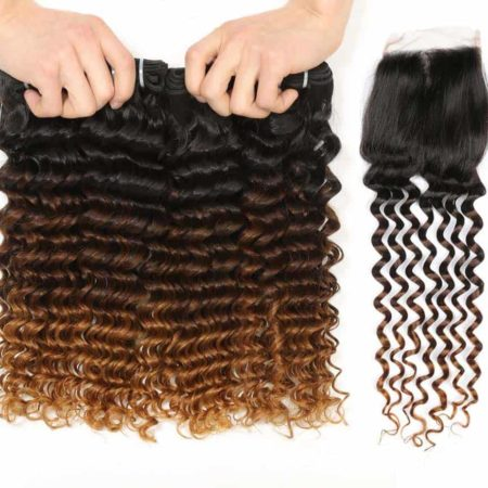 Ombre 1B 4 30 Indian Deep Curly Hair 3 or 4 Bundles with Lace Closure (1)