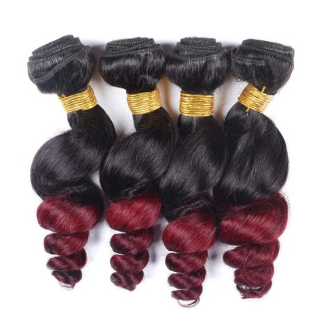 Ombre Loose Wav Brazilian Hair Weave 4 Bundles Deal 1b 99j Red Burgundy (4)