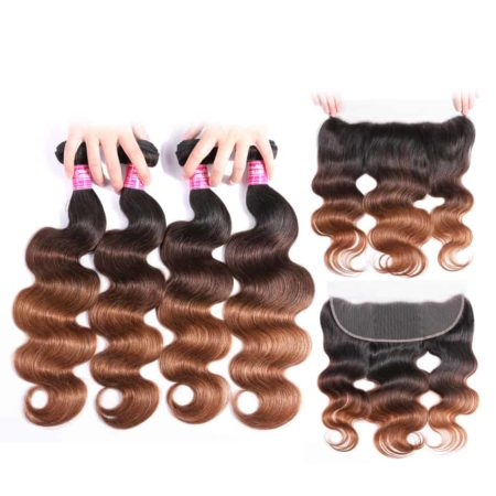 Peruvian Body Wave Ombre T1b or 4 or 30 Hair 4 Bundles With Frontal (5)