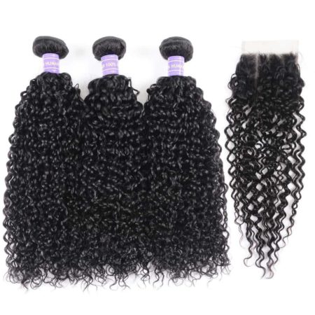 Peruvian Curly Remy Hair 3 or 4 Bundles With 4x4 Swiss Lace Closure (1)