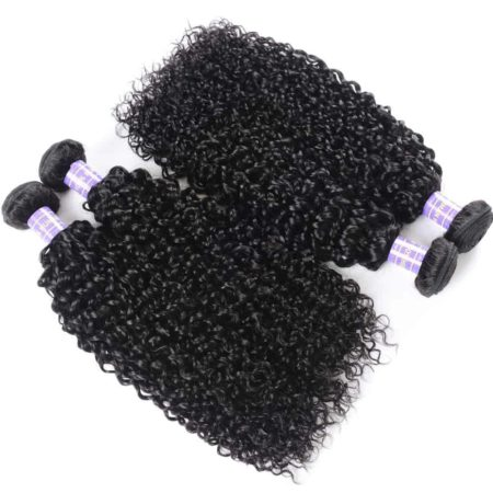 Peruvian Curly Remy Hair 3 or 4 Bundles With 4x4 Swiss Lace Closure (4)