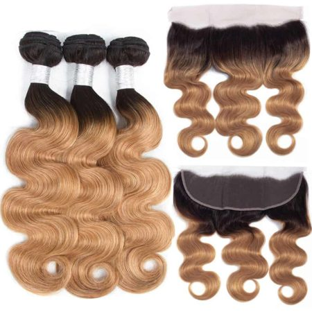Peruvian Human Body Wave Ombre 3 Bundles Hair Weave with Lace Frontal Sale (2)