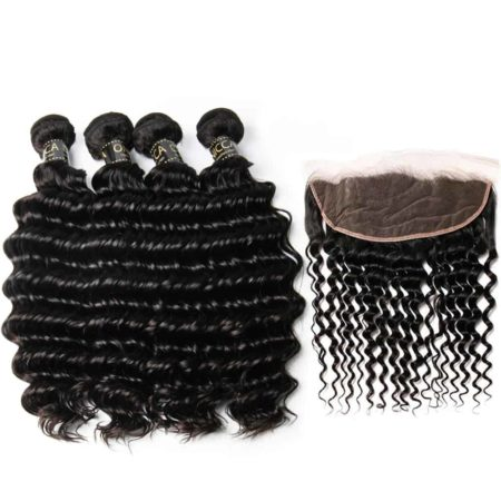 Peruvian Human Deep Wave Bundles with Remy Hair Ear to Ear Lace Frontal (5)