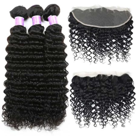 Peruvian Human Deep Wave Hair Bundles With Ear To Ear Lace Frontal (6)