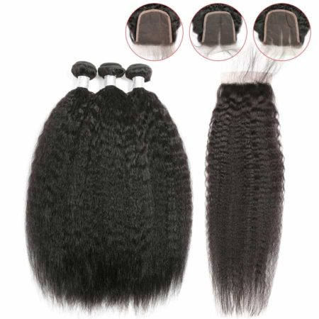 Peruvian Human Hair Kinky Straight 2 or 3 or 4 Bundles With Closure