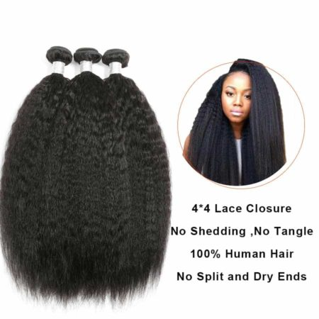 Peruvian Human Hair Kinky Straight 2 or 3 or 4 Bundles With Closure (7)