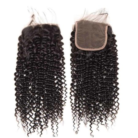 Peruvian Human Kinky Curly 5x5 Lace Closure Hair Pre Plucked With Baby Hair (5)