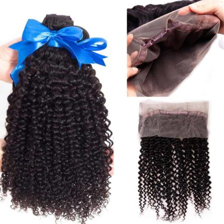Peruvian Kinky Curly Hair 3 Bundles with 360 Lace Frontal Closure Free Part Natural Colour (6)