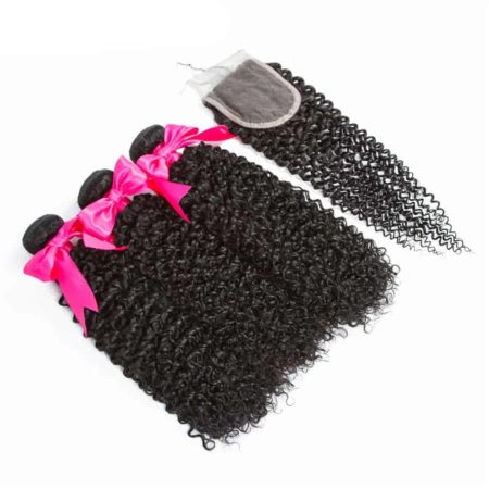 Peruvian Kinky Curly Human Hair Extensions 3 Bundles with Closure (2)
