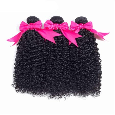 Peruvian Kinky Curly Human Hair Extensions 3 Bundles with Closure (6)