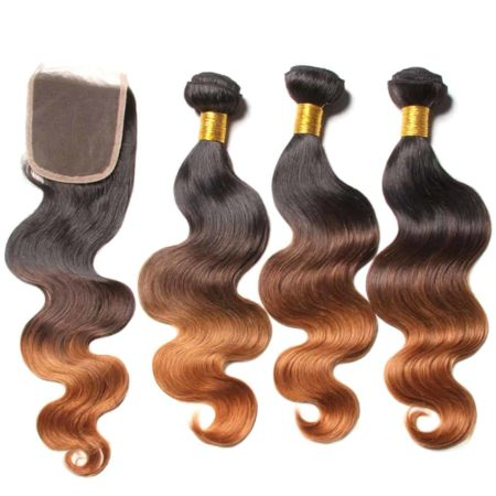 Peruvian Ombre Blonde Body Wave Human Hair 3 Bundles With Closure (4)
