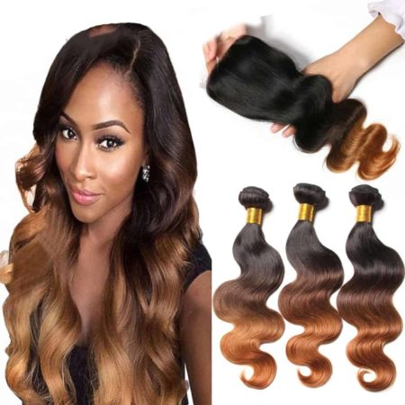Peruvian Ombre Blonde Body Wave Human Hair 3 Bundles With Closure (5)