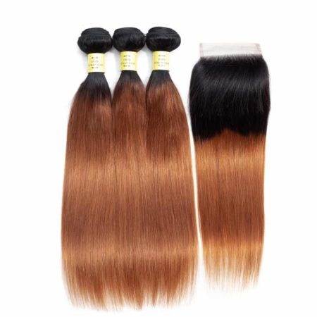 Peruvian Straight Human Hair Ombre Bundles With Closure Color 1B 30 (5)
