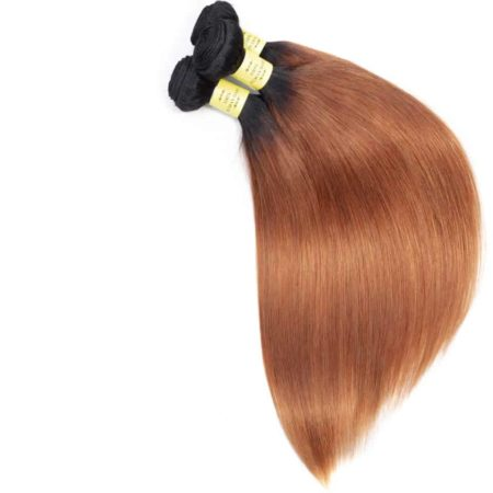 Peruvian Straight Human Hair Ombre Bundles With Closure Color 1B 30 (6)