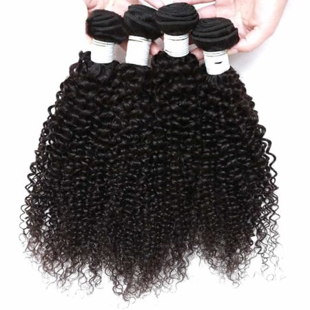 Remy Indian Kinky Curly Human Hair Weave 3 or 4 Bundles With Closure (1)