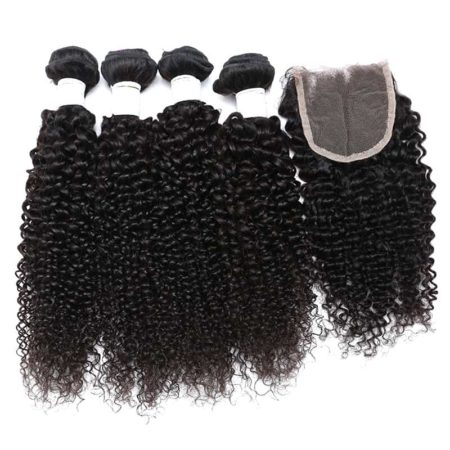 Remy Indian Kinky Curly Human Hair Weave 3 or 4 Bundles With Closure (3)