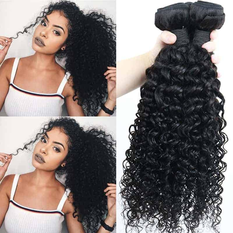 100% Human Brazilian Deep Curly Virgin Hair Weave 3 Bundles (3)