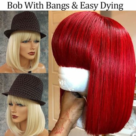 613 Blonde Lace Front Short Bob Blunt Wigs With Bangs (2)