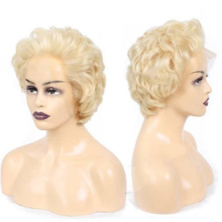 613 Blonde Lace Front Short Human Straight Hair Bob Wig (4)
