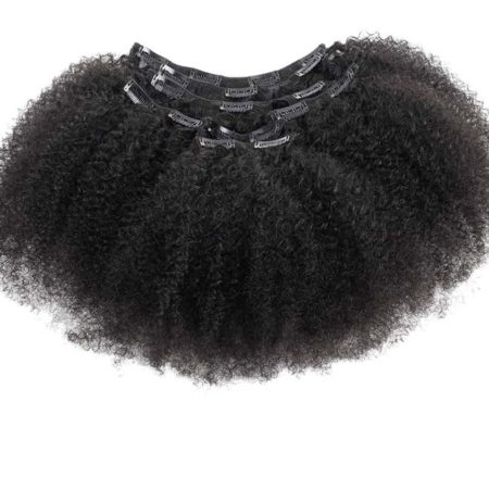 Afro Kinky Curly Peruvian Clip In Human Hair Extensions 7 Pieces120g per set Natural Color (3)