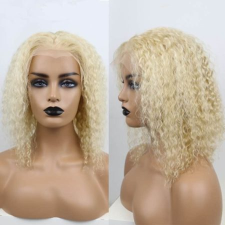 Blonde 613 Curly Lace Front Bob Wig 150 Density Human Hair (1)