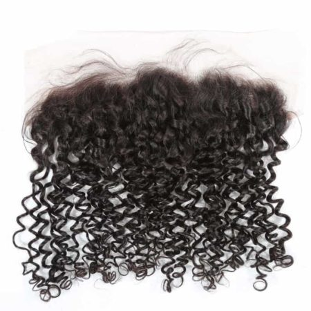 Brazilian 13X4 Free Part Curly Human Hair Swiss Lace Frontal Closure (1)
