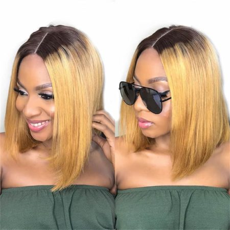 Brazilian Bob Lace Front Wigs Virgin Human Hair Silky Straight 4X4 Blonde P4 27 (3)