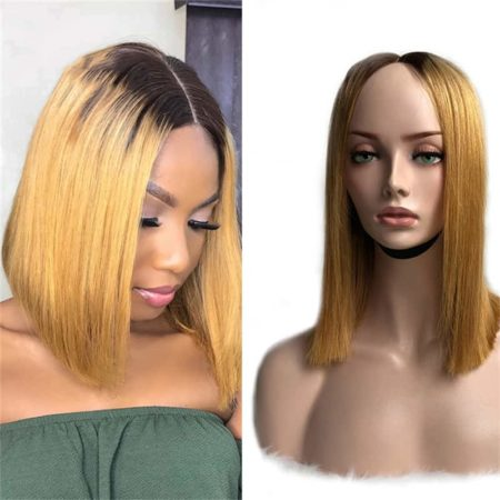 Brazilian Bob Lace Front Wigs Virgin Human Hair Silky Straight 4X4 Blonde P4 27 (4)