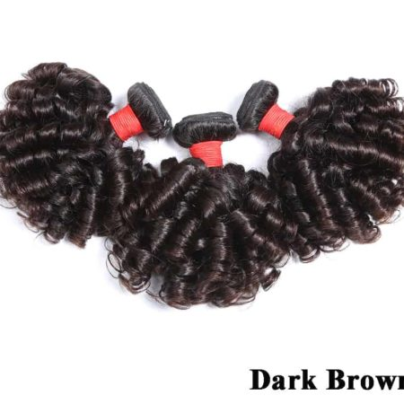 Brazilian Bouncy Curly Pre-colored Raw Virgin Human Hair Bundles Natural Dark Brown Or Black Color (4)