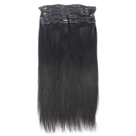 Brazilian Clip In Virgin Remy Hair Extensions Straight 7 Pieces 120g set Natural Color (2)