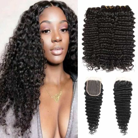 Brazilian Deep Curly 3 Bundles Human Hair with Lace Closure (1)