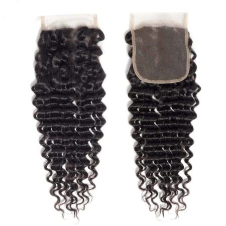 Brazilian Deep Wave 4x4 130% Density Lace Closure Human Hair Natural Black (2)