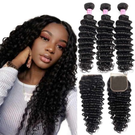 Brazilian Deep Wave Wet and Wavy Remy Human Hair 3 Bundles with Closure Free Part (2)