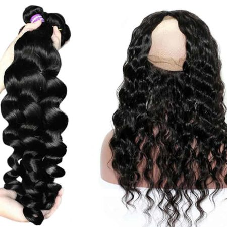 Brazilian Human Loose Wave 360 Lace Frontal With Bundles (6)