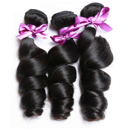 Brazilian Human Loose Wave Bundles Natural Black Hair Weave Extensions (6)
